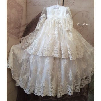 """Reyna"" white baptism gown-heirloom-bautismo-bautisar"