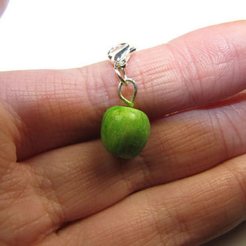Green Apple Charm - Miniature Food Jewelry, Food Jewelry, Polymer Clay Charm, Clay Charm, Apple, Apples, Fruit Charm