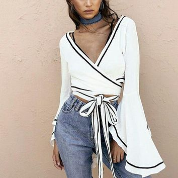 White wrap blouse Sexy v neck bell sleeve cross bandage crop tops Women summer 2018 tie waist short blusa