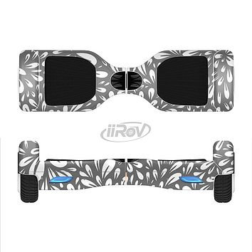 The Gray & White Floral Sprout Full-Body Skin Set for the Smart Drifting SuperCharged iiRov HoverBoard