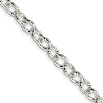 Men's 6.8mm, Sterling Silver Oval Solid Cable Chain Necklace, 16 Inch