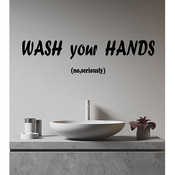 Vinyl Wall Decal Hygiene Rules Words Wash Your Hands Bathroom Decor Stickers (4272ig)