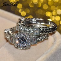 JUNXIN Luxury Female Big Unique CZ Ring White Gold Filled Jewelry Vintage Wedding Ring Set Promise Engagement Rings For Women