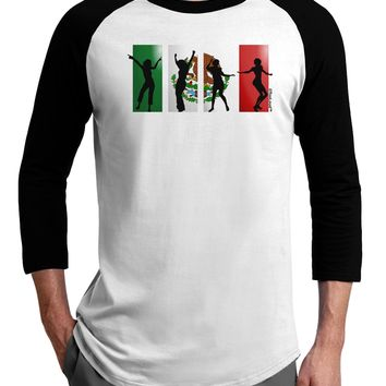 Mexican Flag - Dancing Silhouettes Adult Raglan Shirt by TooLoud