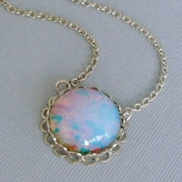 Opal Necklace Glass Opal Pendant Necklace by pinkingedgedesigns