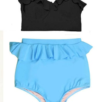 Black Midkini Top and Blue Highwaisted High Waisted Waist Swimsuit Swimwear Bikini Bath suit  Beach Summer Swim Swimming Clothing Wear S M