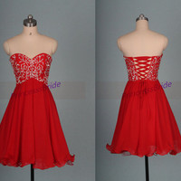 Short red chiffon homecoming dress with sequins,cute sweetheart women gowns for holiday party,chic cheap prom dress under 150.