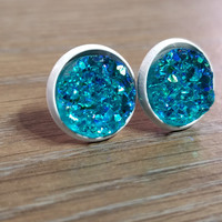 Druzy earrings-  Aqua drusy - white stud druzy earrings