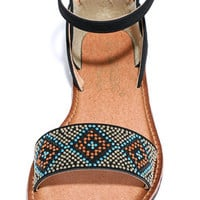 Trek or Treat Black Beaded Flat Ankle Strap Sandals