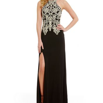 Sequin Hearts High-Neck Embroidered Bodice Long Dress | Dillards