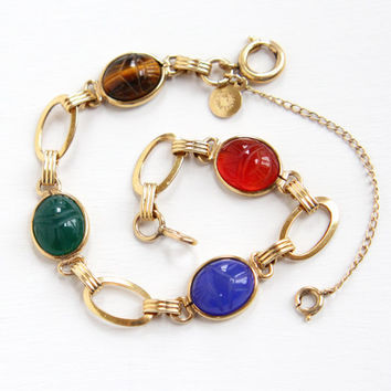 Vintage 12k Yellow Gold Filled Scarab Bracelet - Retro 1960s Carved Chrysoprase, Tiger's Eye, Egyptian Revival Jewelry Hallmarked Candida