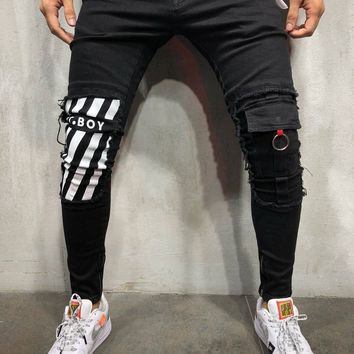 Skinny Jeans Ripped&Repaired Ankle Zipper - Black