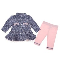 2pc Floral Chambray Shirt Set 3 9m 310480801 | Matching Sets | Baby Girl Clothes | Clothing | Burlington Coat Factory