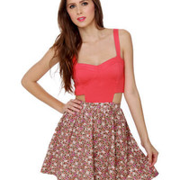 Cute Color Block Dress - Floral Dress - Corduroy Dress - Cutout Dress - $78.00