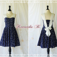 A Party Princess - Retro Vintage Inspired Sundress Navy Party Dress Spring Summer Tea Dress Bridesmaid Dress Gardel Party Dress Custom Made