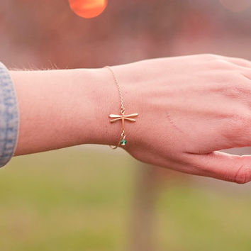 Delicate Dragonfly Bracelet. Dainty Dragonfly Charm Bracelet. Gold Plated Bracelet. Dragonfly Bracelet.