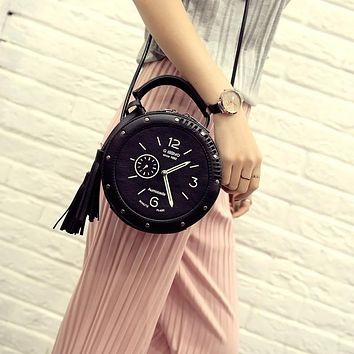 Women Leather Shoulder Messenger Bags Clock Models Famous Cartoon Round Style Fashion Crossbody Tassen Summer Beach Bags