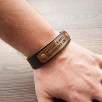 Christmas Sale -30% Mens Personalized Leather Bracelet, Bracelet,Personalized bracelet,id bracelet, bronze, copper, brass, stainless plate