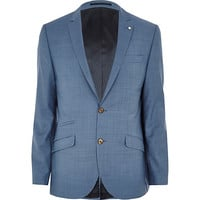River Island MensBlue cross-hatch wool-blend slim suit jacket