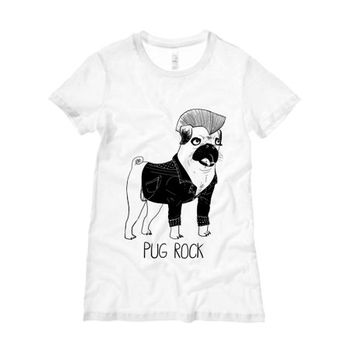 Pug Rock TShirt | Black Pug Women's Shirt | Animal Clothing