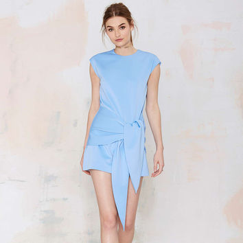 Light Blue Sleeveless Dress with Sarong Skirt