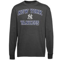 Majestic New York Yankees Cooperstown Collection Heart and Soul Long Sleeve T-Shirt - Charcoal