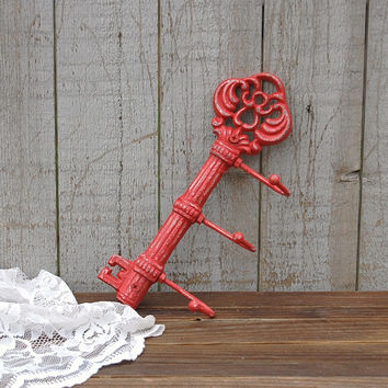 Red cast iron key holder