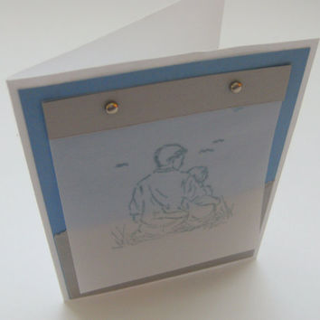 Card Father's Day Hand stamped Stampin Up on Vellum