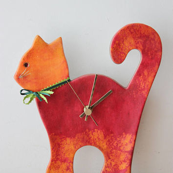 Red cat wall clock, ceramic wall clock of red and orange cat, unique, handpainted, red cat clock, nursery clock, vet's clock, red cat decor