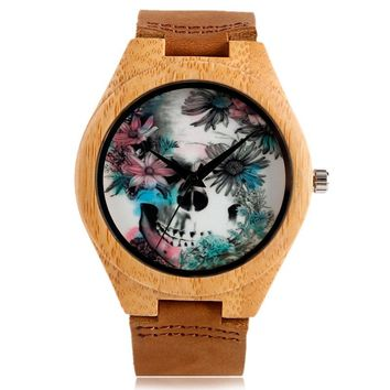 Bamboo Nature Wood Wristwatch Genuine Leather Band Strap Fashion Wooden Men Skull Women Punk Clock