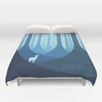 Blue forest Duvet Cover by Roland Banrevi