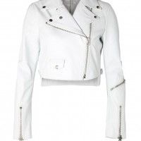 Acne | White Cropped Leather Biker Jacket by Acne