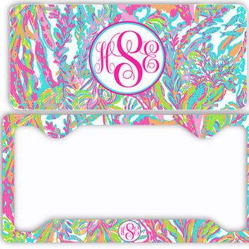 Ocean Pastels Aqua Vibrant Seaweed License Plate Frame Car Tag Monogrammed Frame Personalized Set Custom Initials