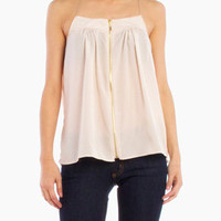 Silky Center Zip Top in Cream