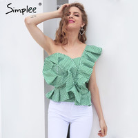Simplee One shoulder blouse shirt women tops Summer irregural striped shirt blouse chemise femme Elegant ruffles zipper blusas