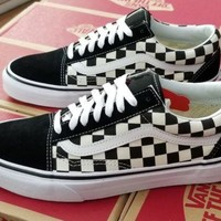 VANS OLD SKOOL CHECKERBOARD PRIMARY CHECK VN0A38G1P0S BLACK/WHITE MEN US SZ 9.5