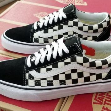 VANS OLD SKOOL CHECKERBOARD PRIMARY CHECK VN0A38G1P0S BLACK/WHITE MEN US SZ 7