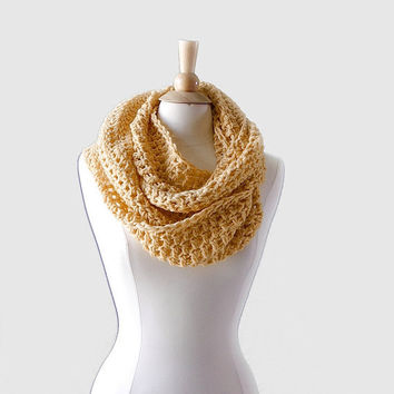 Banana Cream Infinity Scarf, Super Soft Merino baby Alpaca Blend Scarf from Midwest Crochet