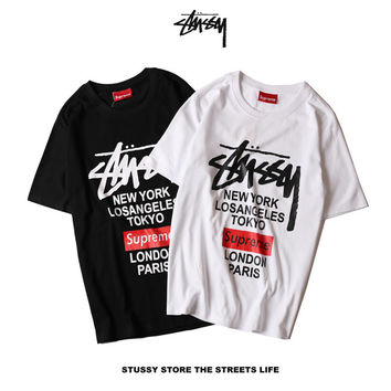 """Stussy X Supreme"" Fashion Casual Male Female Hip Hop Wind Letter Print Round Neck Short Sleeve Loose Couple Cotton T-shirt"