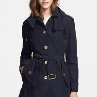 Burberry Brit 'Levinford' Single Breasted Hooded Trench Coat