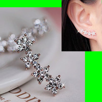 String of Shiny Flowers Rhinestone Earrings