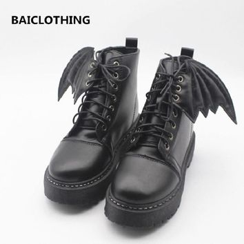 BAICLOTHING girl cool bat wind pu leather boots women black lace up autumn and winter martin boot botas femininas casual boot