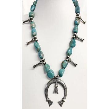 Chelsea Collette Collections~ Turquoise and Navajo Bead Squash Blossom Necklace