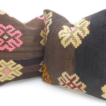 Brown Kilim Pillow set with large Flowers