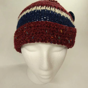 Beanie Hat With  Button Ready to ship