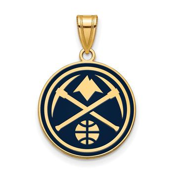 NBA 14k Yellow Gold Plated Silver Denver Nuggets Large Logo Pendant