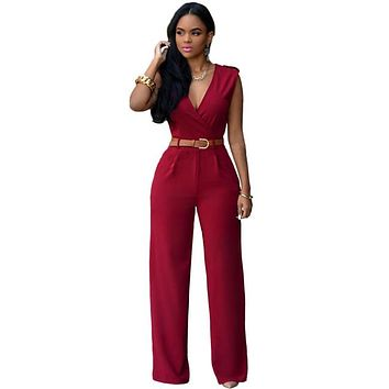 Jumpsuit Long Pants Women Rompers Sleeveless V-neck Belt Solid Sexy Night Club Elegant Slim Jumpsuits Overalls