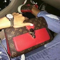 LV Women Shopping Leather Tote Handbag Shoulder Bag Contrast Red