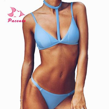 Pacento Bikini Set Solid Hang High Neck Bikini Top Plus Size Swimwear Women 2018 Sling Sexy Swimsuit Suit Biquinis Feminino May