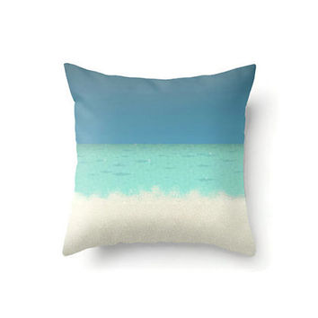 Throw Pillow cover, aqua pillow cover, nautical pillow, blue pillow, tan pillow, sea and sand, nautical home decor, beach house decor